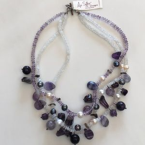 Sterling silver triple strand necklace.